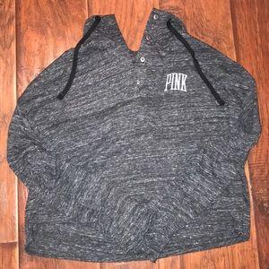 PINK Cropped Gray Sweatshirt